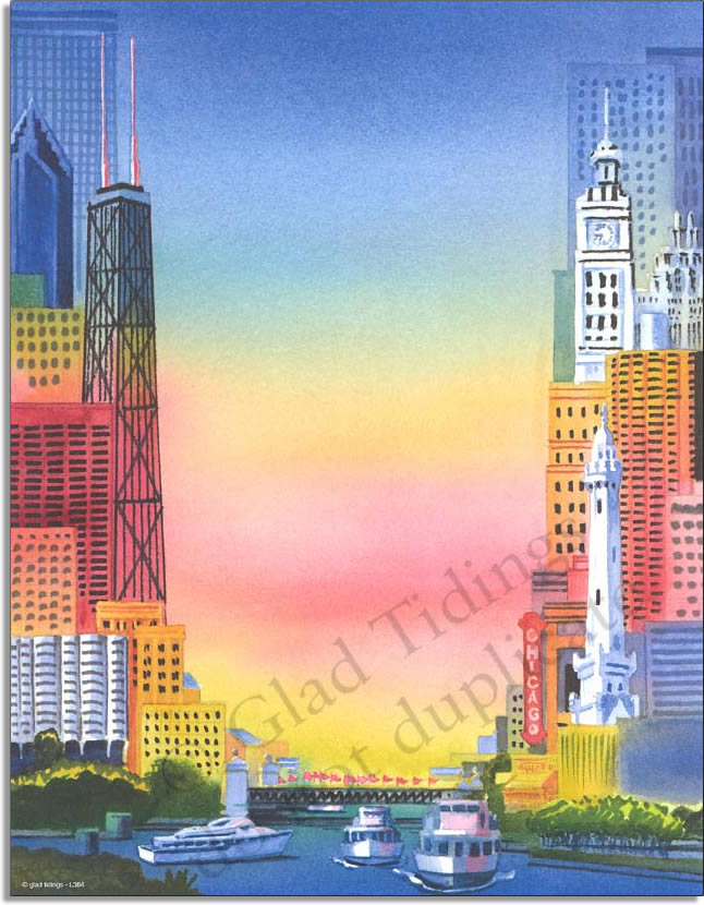 My Kind of Town Paper - a fun city scene laser paper with a colorful background and a unique view of the city.   Colored envelopes are available but are sold seperately.